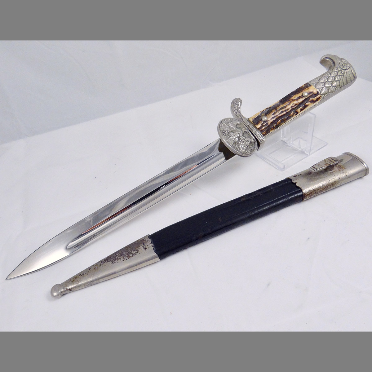RARE Land Customs (Zolldienst) Clamshell Dress Bayonet with Stag Grip by Clemen & Jung